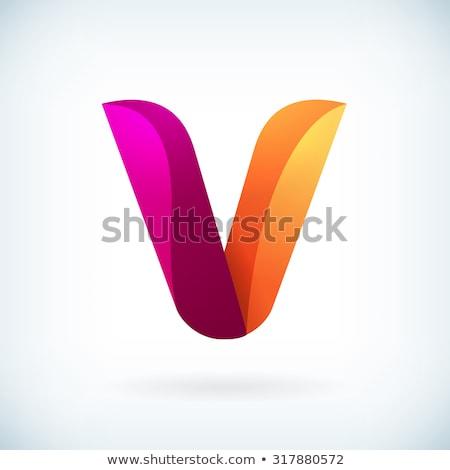 Geometric typographic logo template Letter V Symbol. Business identity tech element. Stock Vector il Stock photo © kyryloff
