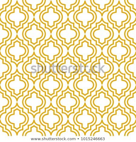 Yellow line qatrefoil seamless vector pattern. Stock photo © yopixart
