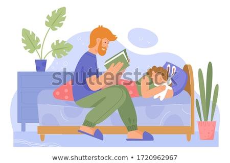 Apa olvas könyv gyerek szoba gyereknevelés Stock fotó © robuart
