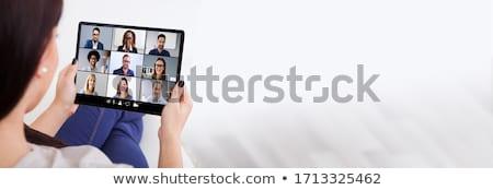 Online oktatás online videó konferencia tabletta afrikai Stock fotó © AndreyPopov