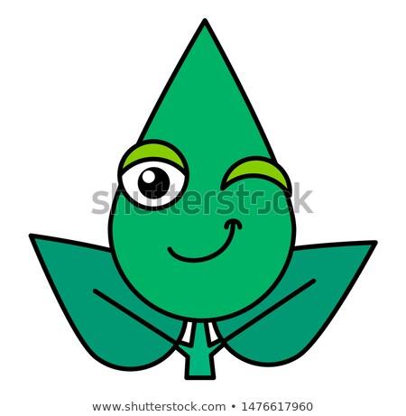 Botanisch emoticon dun lijn icon Stockfoto © barsrsind