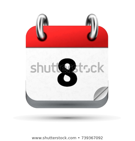 Bright realistic icon of calendar with 8 june date isolated on white Stock photo © evgeny89