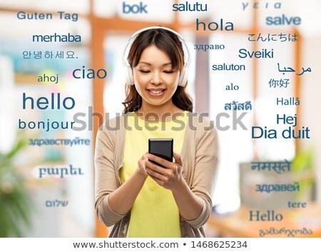 Gelukkig asian vrouw buitenlands woorden vertaling Stockfoto © dolgachov