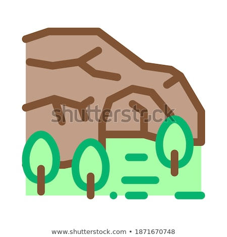 mountain cave among forest icon vector outline illustration Stock photo © pikepicture