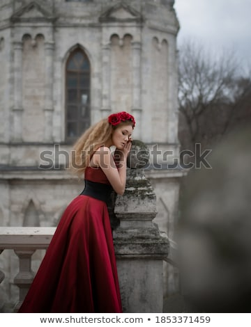 attractive fashion blond girl in castle park Stock photo © fotoduki