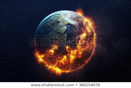 Brûlant terre monde symbole réchauffement climatique 3D Photo stock © Spectral