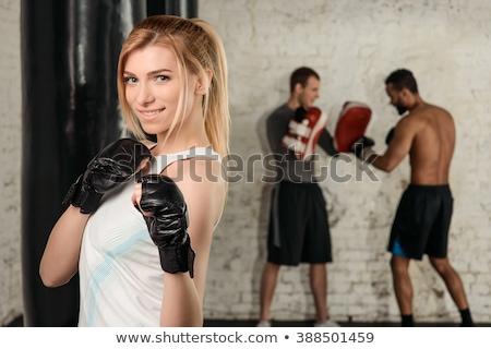 preto · senhora · luvas · de · boxe · negócio · mulher · trabalhador - foto stock © photography33