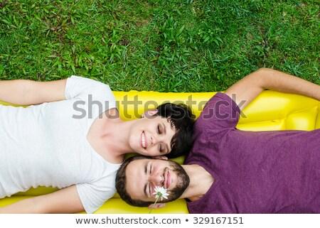 Echtpaar leggen park vrouw liefde gelukkig Stockfoto © photography33