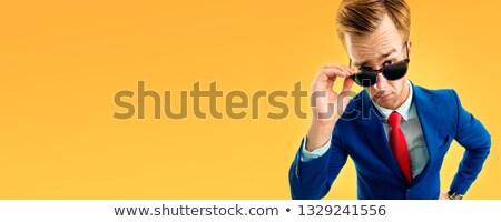 懐疑的な ビジネスマン 孤立した 白 顔 眼鏡 ストックフォト © Kurhan
