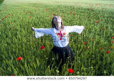 joli · jeune · fille · rose · pavot · fleur · silhouette - photo stock © glyph