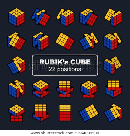 Foto stock: Cubo · quebra-cabeça · conjunto · seis · branco
