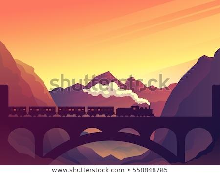 locomotief · vintage · stijl · illustratie · retro · reizen - stockfoto © xochicalco