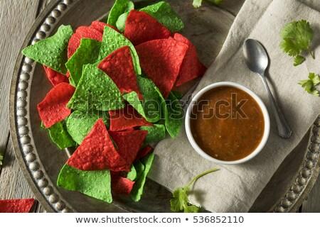 赤 · 緑 · トルティーヤ · チップ · 黒 - ストックフォト © fotogal