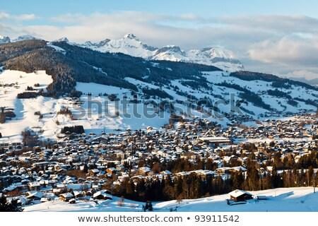 Widok z góry górskich w. francuski alpy krajobraz Zdjęcia stock © anshar