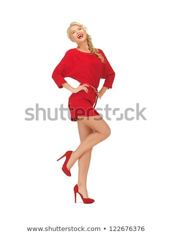 Kadın kırmızı elbise yüksek topuklu resim moda model Stok fotoğraf © dolgachov