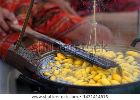 Boiling cocoon in a pot Stock photo © stoonn