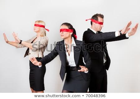 Red tape blindfold businessman isolated stock photo © lunamarina