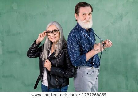 белые волосы старший человека жена позируют соломенной шляпе Сток-фото © ozgur