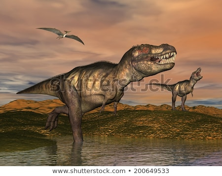 Tyrannosaurus rex by sunset - 3D render Stock photo © Elenarts