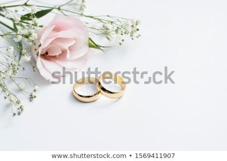 Trouwringen bloem witte bruid lint zilver Stockfoto © tepic