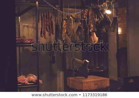 meat in a cold storage house of a butchers shop Stock photo © meinzahn