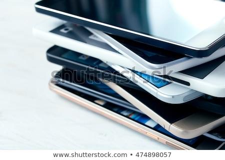 Akıllı telefonlar çağdaş siyah gümüş ayrıntılar Stok fotoğraf © zhekos