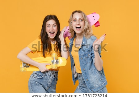 Girl wearing sport clothes extremely surprised Stock photo © HASLOO