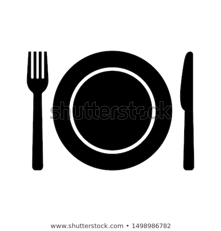 restaurant menu design with plate fork and knife stock photo © maximmmmum