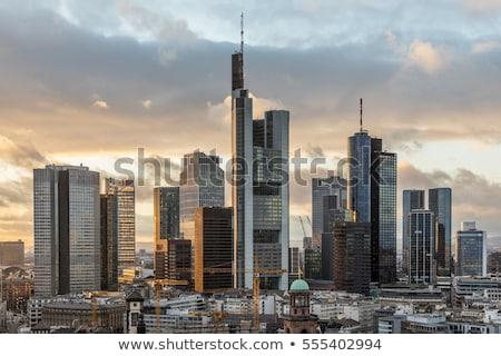 Duitsland · Frankfurt · hoofd- · skyline · zonsondergang - stockfoto © andreykr
