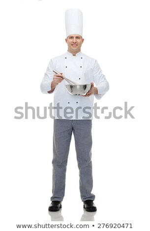 happy male chef cook whipping something with whisk Stock photo © dolgachov