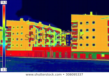 Residential building with Infrared thermovision image Stock photo © smuki