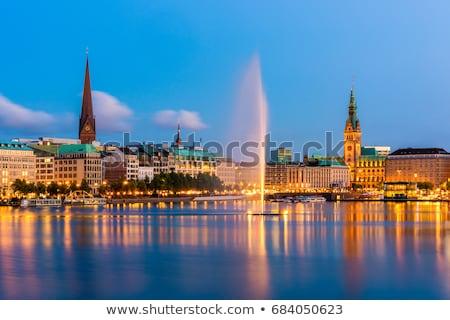 Hamburg Duitsland kaart vlag knop nieuws Stockfoto © Istanbul2009