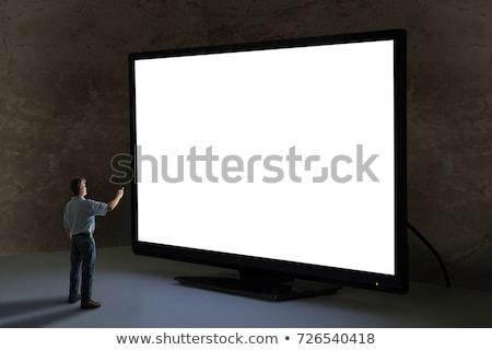 siyah · çerçeve · televizyon · çoklu · ekran · duvar - stok fotoğraf © magann