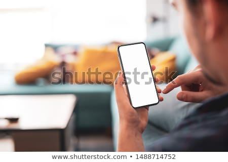 вид сзади смартфон белый закрывается золото Сток-фото © magraphics