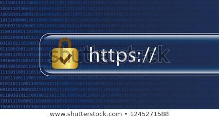 Kék gomb fekete billentyűzet internet technológia Stock fotó © michaklootwijk