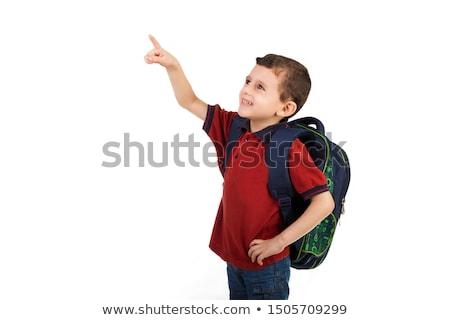 Сток-фото: Cute · арабский · Kid · указывая · пальца · аннотация