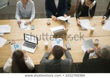 Resultados mesa de madeira palavra escritório escolas educação Foto stock © fuzzbones0