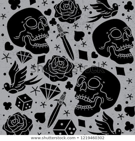 poker seamless pattern with skull vector illustration stock photo © carodi