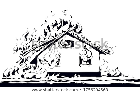 house on fire sketch icon stock photo © rastudio