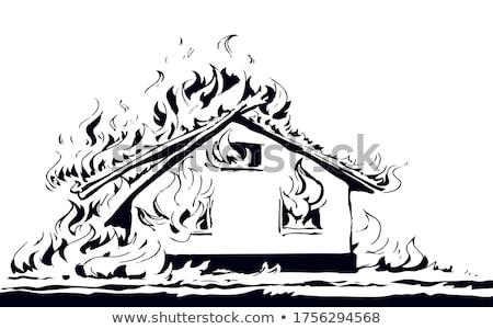 house on fire sketch icon stock photo © rastudio