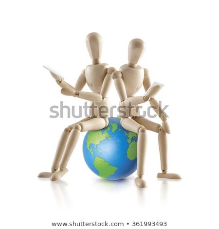 dois · madeira · modelo · sentar-se · mundo · branco - foto stock © 7Crafts
