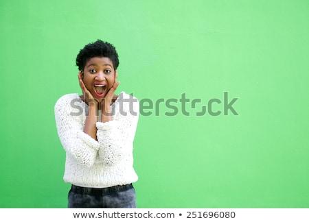 verwonderd · tevreden · brunette · vrouw · trui · naar - stockfoto © deandrobot