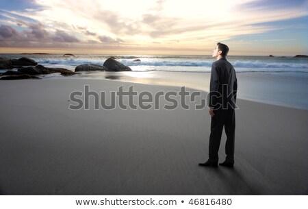石 戻る 男 ビーチ クローズアップ スタック ストックフォト © nito