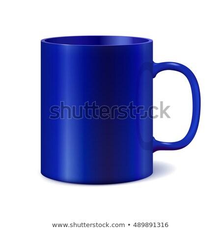 Bleu céramique mug impression entreprise logo Photo stock © ESSL