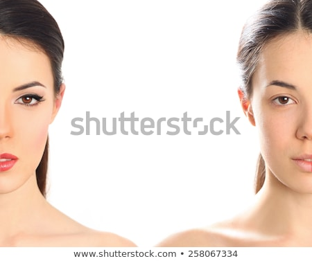half faced woman before tanning and after close up isolated  Stock photo © iordani