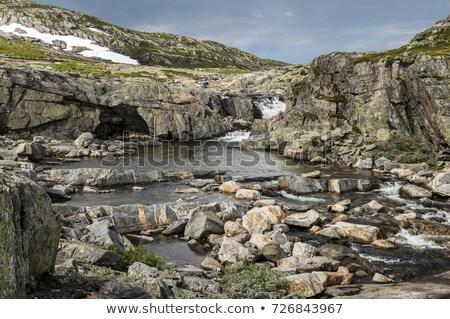 高い 道路 ノルウェー 雪 旅行 滝 ストックフォト © compuinfoto