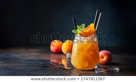 Pêssego coquetel sobremesa comida vidro fundo Foto stock © M-studio