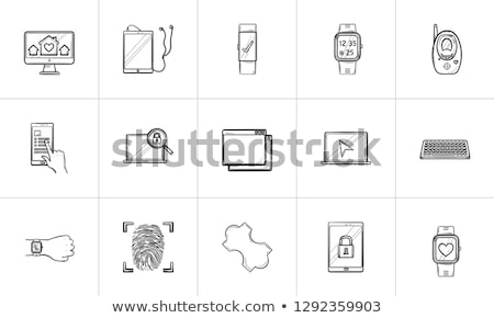 browser window with padlock hand drawn outline doodle icon stock photo © rastudio
