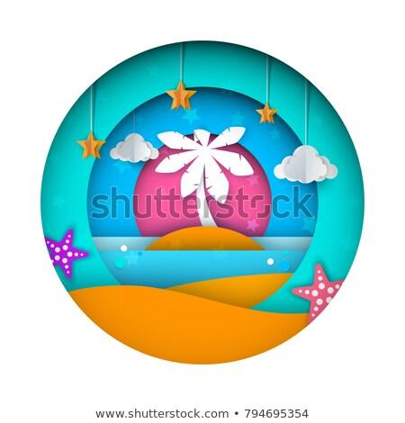 Foto stock: Ship Paper Landscape Sea Cloud Star Cartoon Illustration