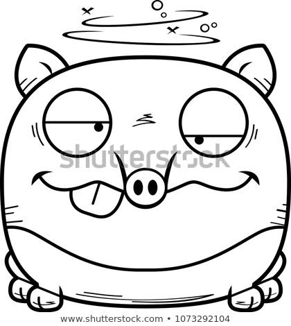 Bêbado desenho animado ilustração olhando animal gráfico Foto stock © cthoman